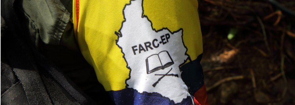 The Farc flag as seen on the uniform of a guerrilla fighter