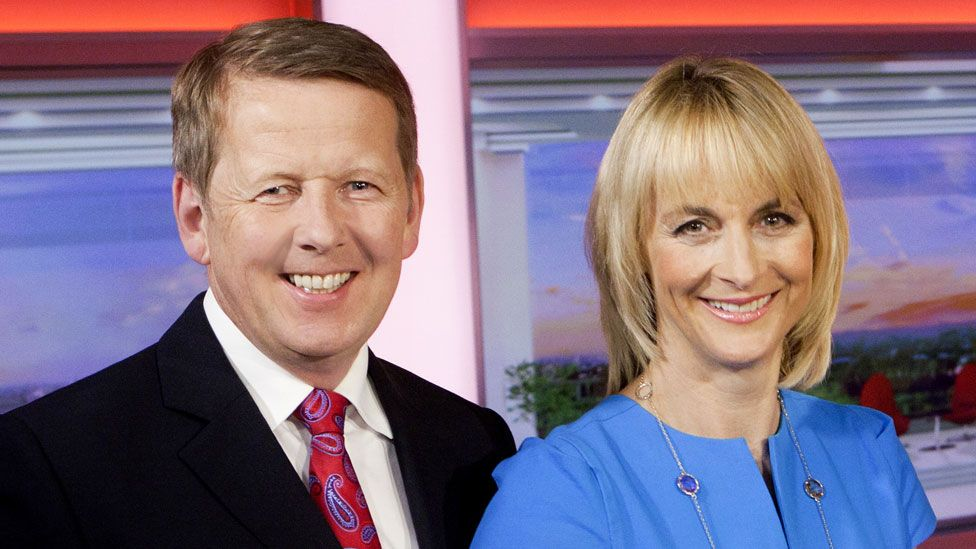 Bill Turnbull with Louise Minchin in 2014
