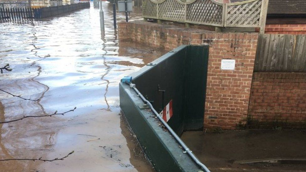 Flood barriers in Upton-upon-Severn, Worcestershire, on Wednesday