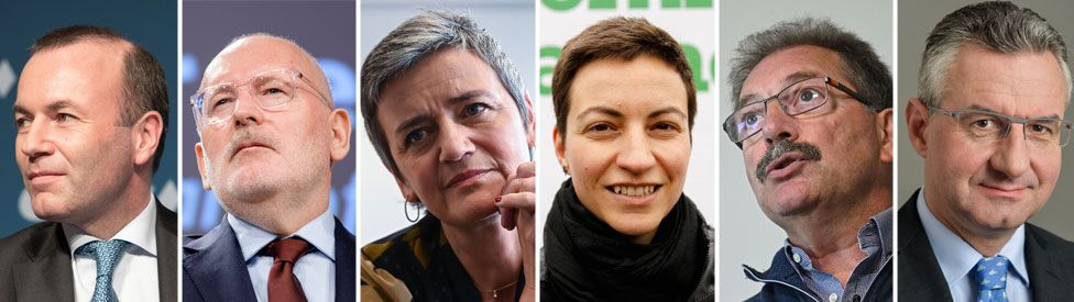 A six-headshot composite shows the faces of Weber, Timmermans, Vestager, Keller, Cue, and Zahradil