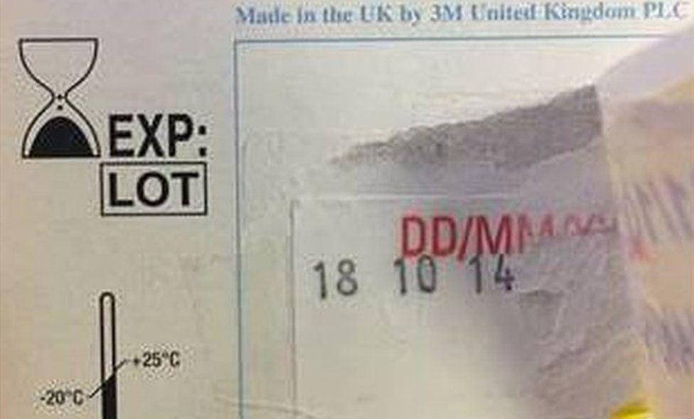 Date of October 2014 on PPE masks sent to Birmingham City Council