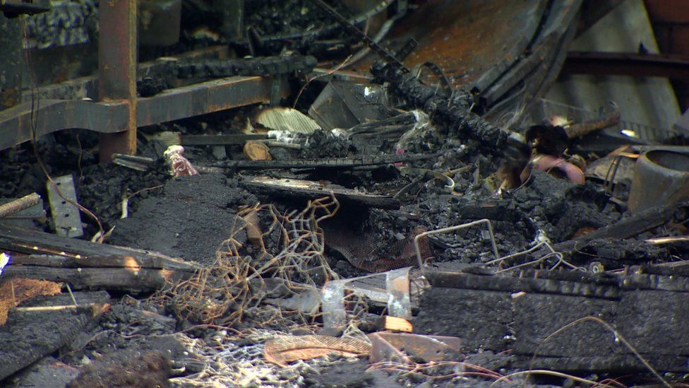 The scene of destruction following the blaze