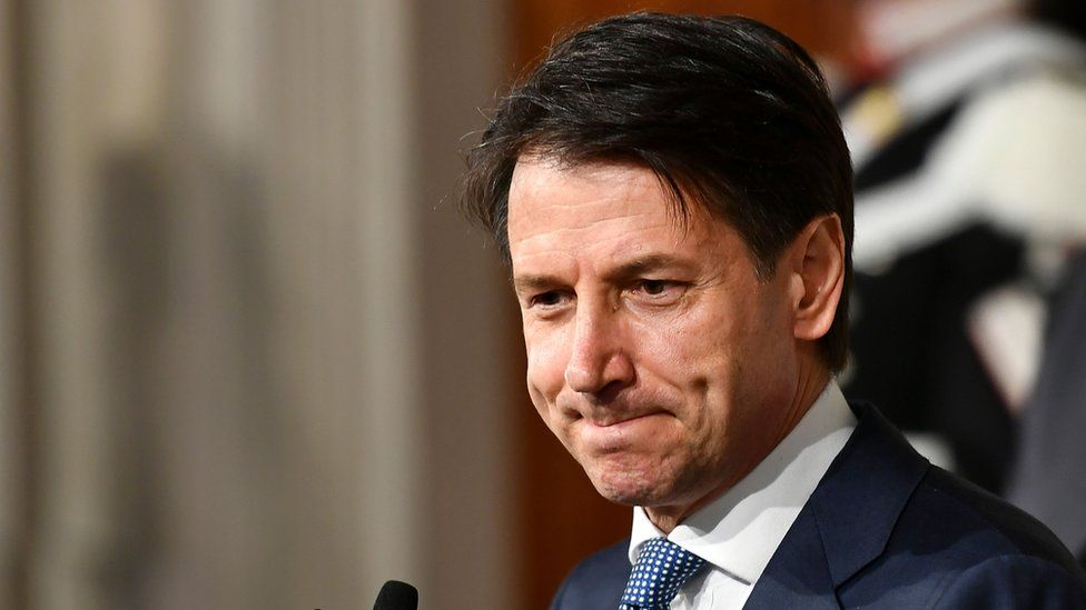 Giuseppe Conte addresses journalists after his meeting with Italy's president, 23 May 2018
