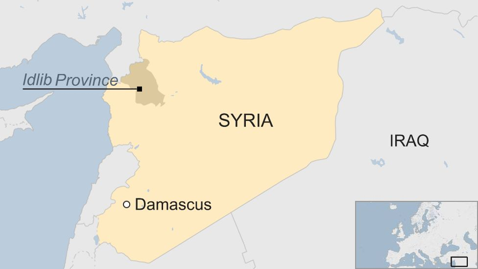 Map of Syria and Idlib province