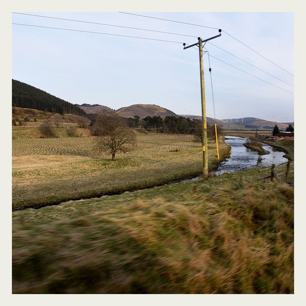 View of lowland Scotland from a Class 90 locomotive
