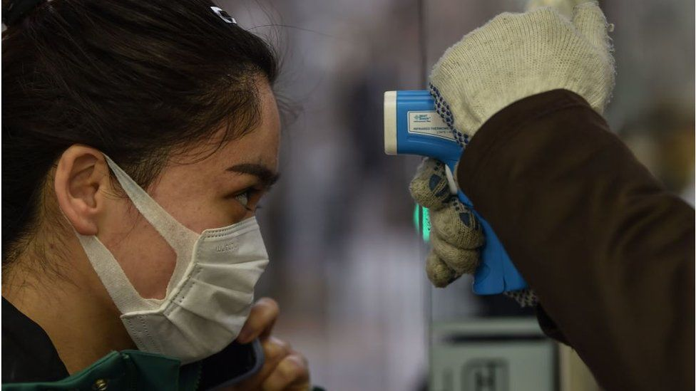 Woman being tested for coronavirus