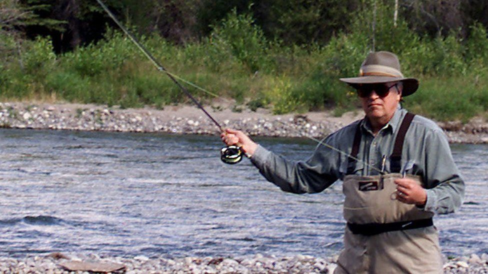 Former vice president Dick Cheney fly-fishing in Wyoming