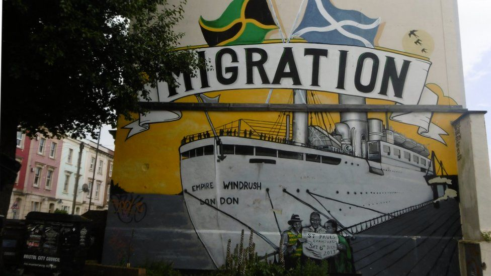 A mural in Bristol celebrating the Windrush migrations from the Caribbean in the 1960s
