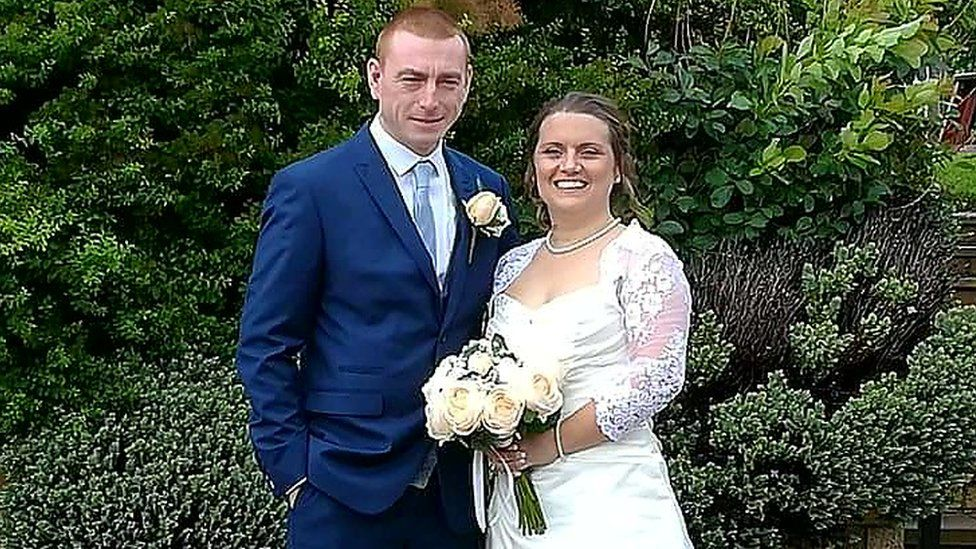 Danny and Claire on their wedding day
