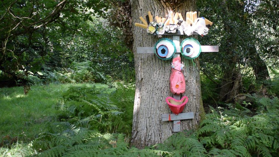 Artwork on tree