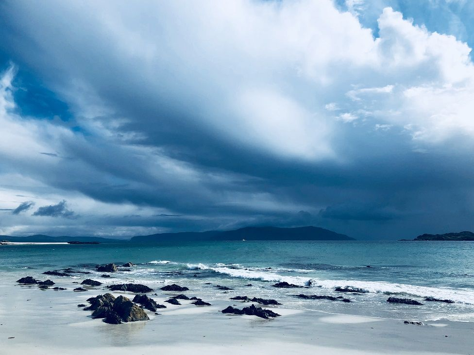 Dark clouds over Mull, from Iona.