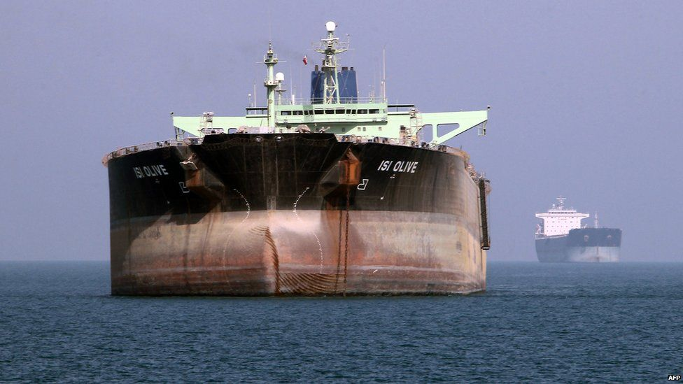 Oil tanker off the port of Bandar Abbas, southern Iran, on 2 July 2012