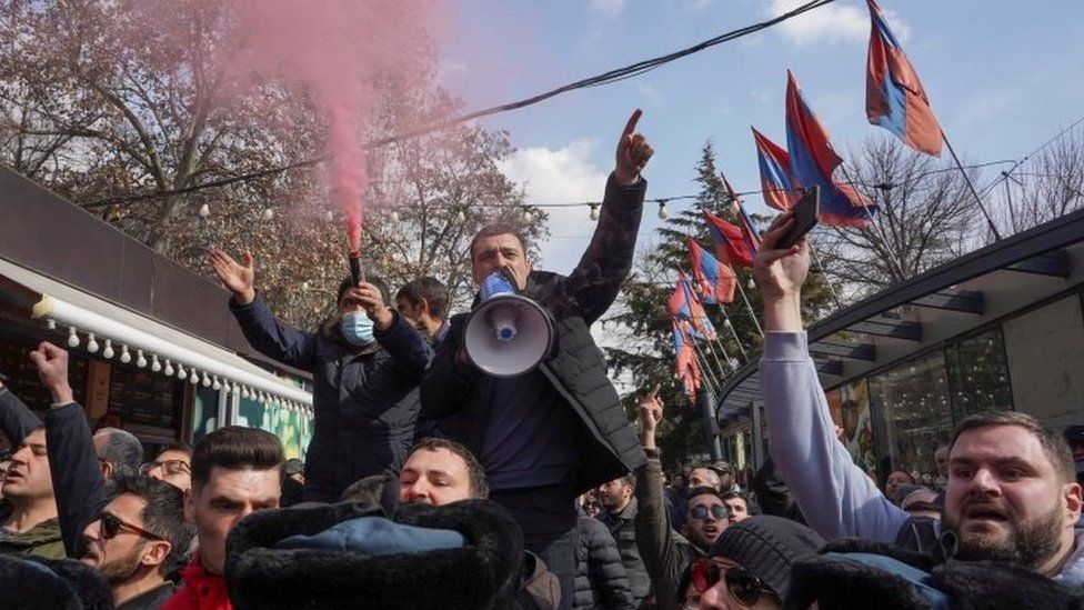 Opposition supporters rally in Yerevan, demanding the resignation of Nikol Pashinyan
