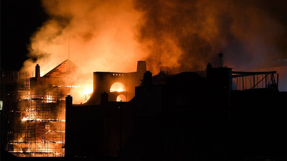 Fire fighters battle a blaze at the Mackintosh Building at the Glasgow School of Art for the second time in four years