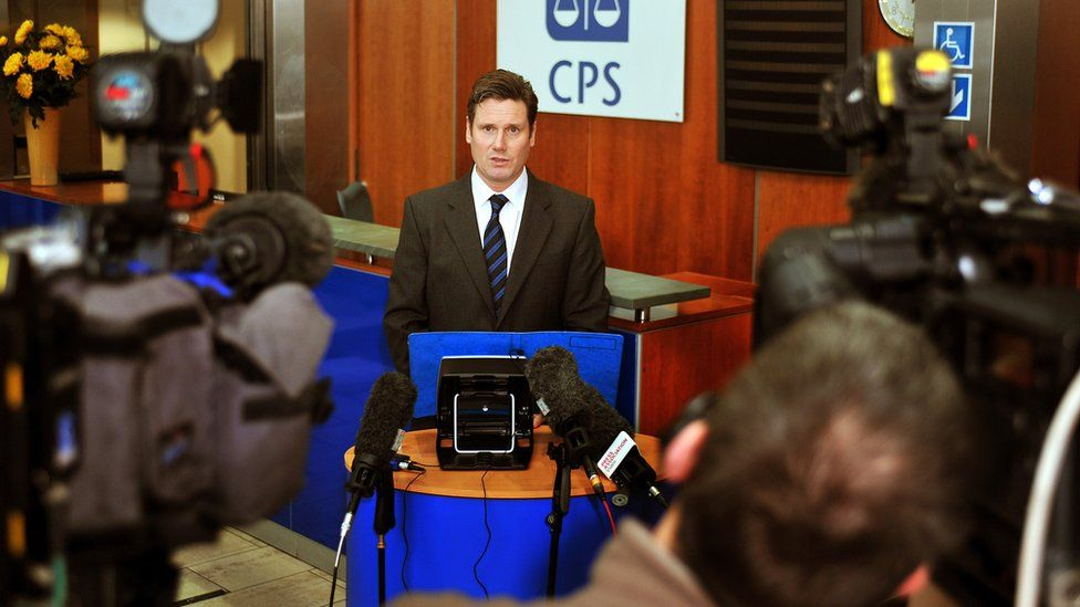 Keir Starmer QC, then the Director of public prosecution attends the CPS