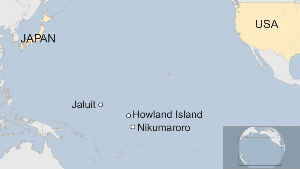 Map of Jaluit, Howland Island and Nikumaroro