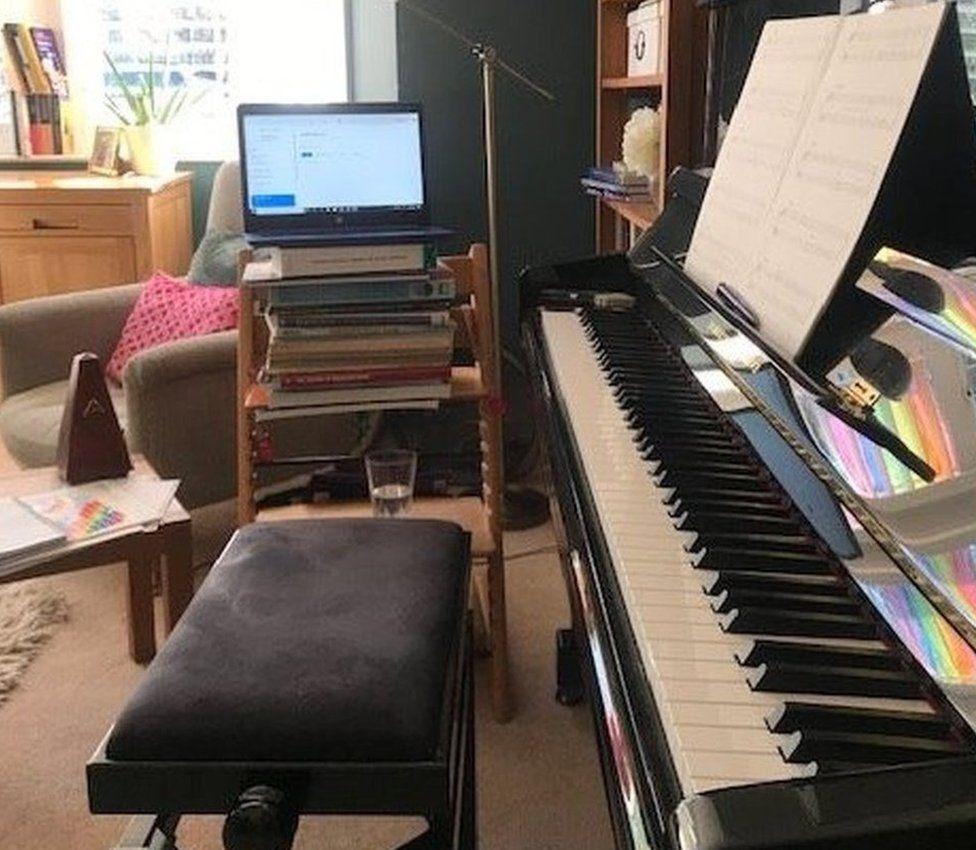 Gwersi piano dros y we