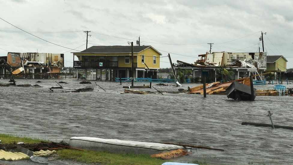 Flooded houses after Hurricane Harvey hit Rockport, Texas on August 26, 2017.