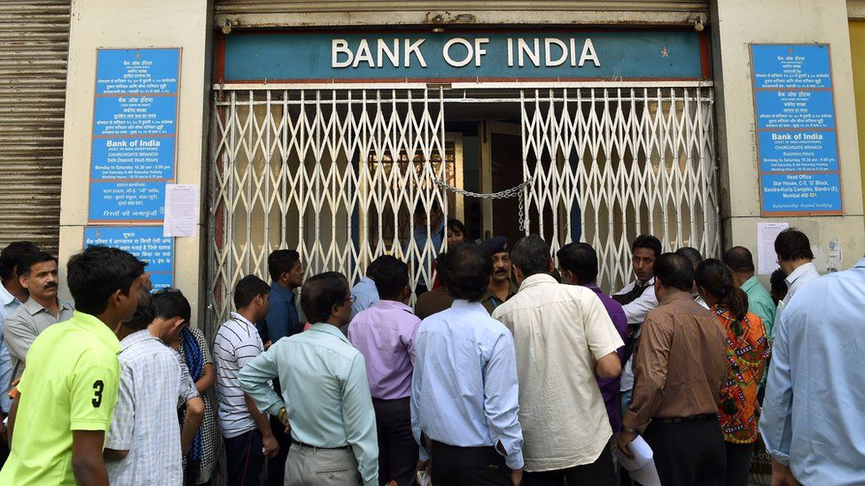 Long queues have been seen outside banks