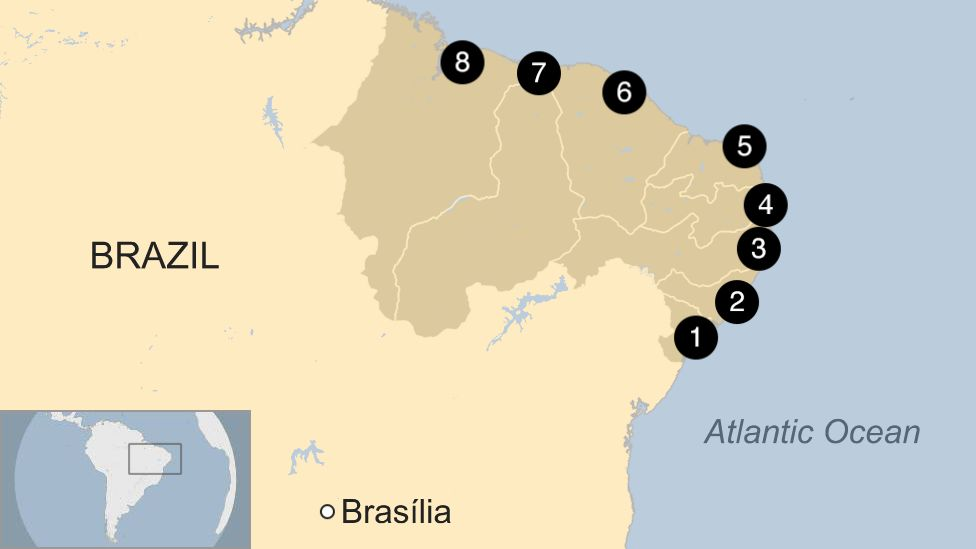 Map of areas affected in Brazil