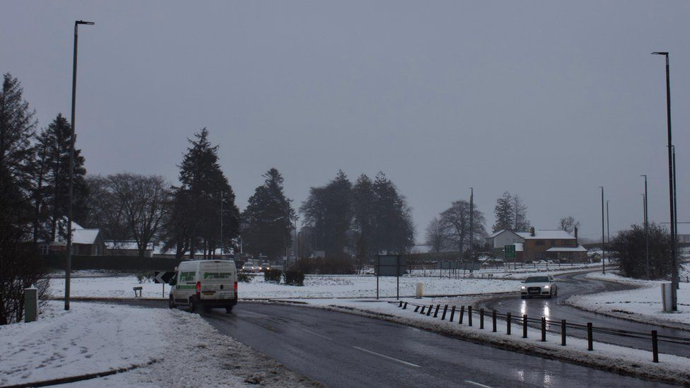 Ballygawley roundabout in the snow