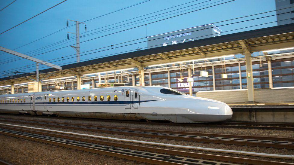 A Japanese bullet train, known as shinkansen