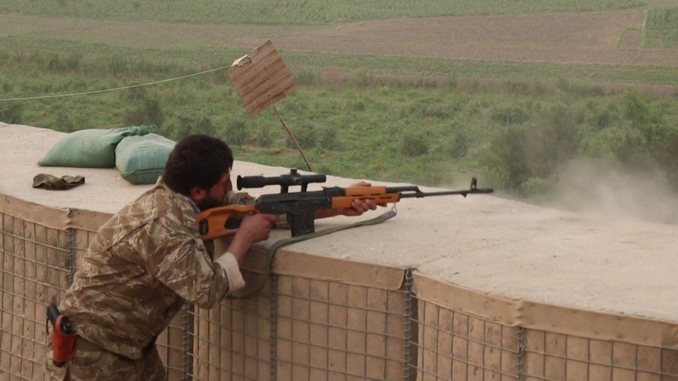 Afghan security personnel fighting against the Taliban in the outskirsts of Kunduz city. 12 July 2021