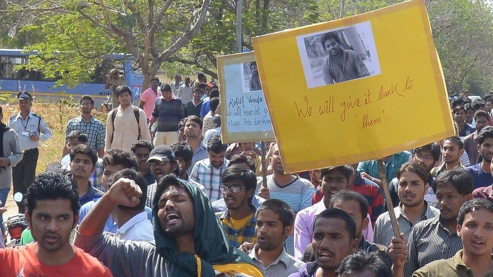 Students of Hyderabad Central University protesting over Rohith Vemula's death