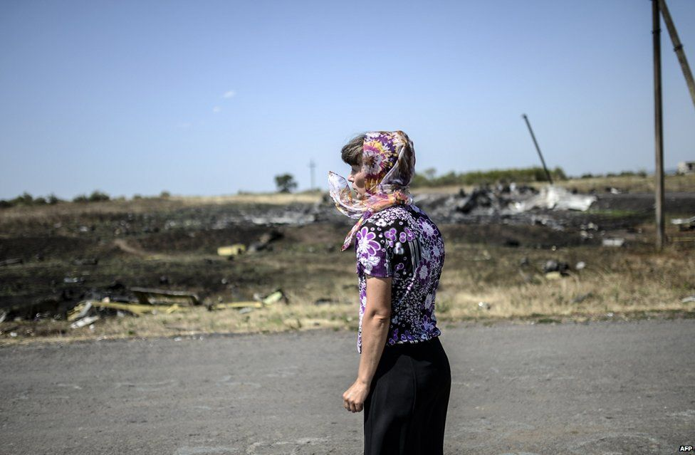 A woman looks at the crash site of the Malaysia Airlines Flight MH17 near the village of Hrabove (Grabovo), some 80km east of Donetsk, on August 2, 2014.
