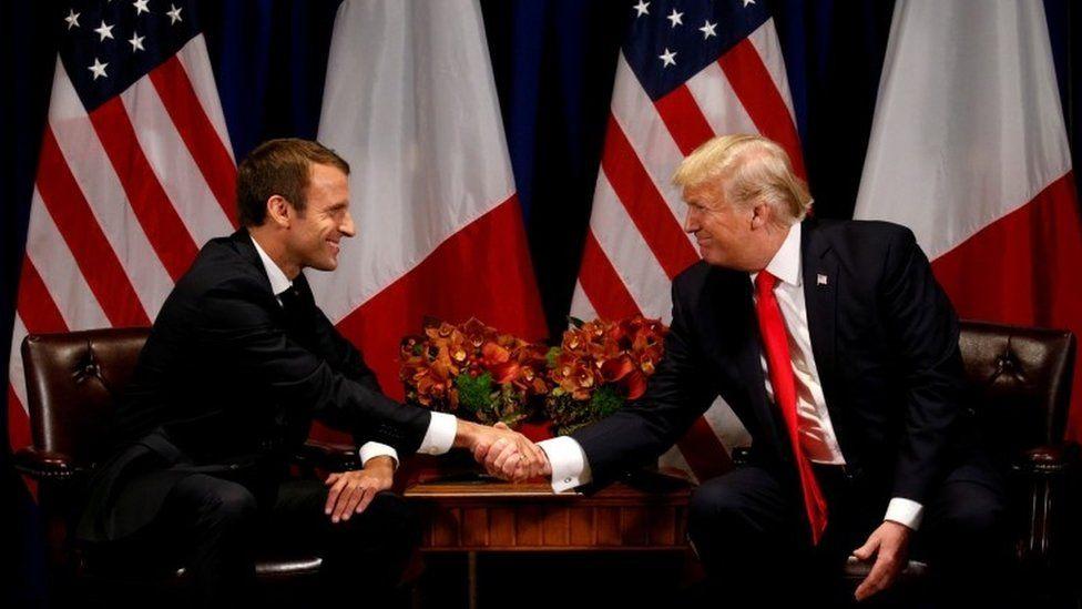 U.S. President Donald Trump meets French President Emmanuel Macron in New York, U.S., 18 September 2017