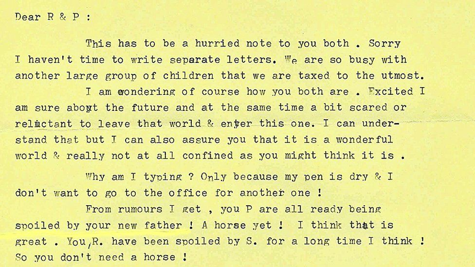 An excerpt of a letter to Ruth and Pauline from inside the 'weird world'