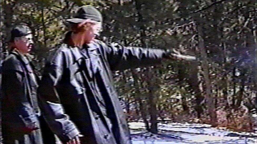 A grab from a video released by police of Columbine perpetrators practising before their shooting attack