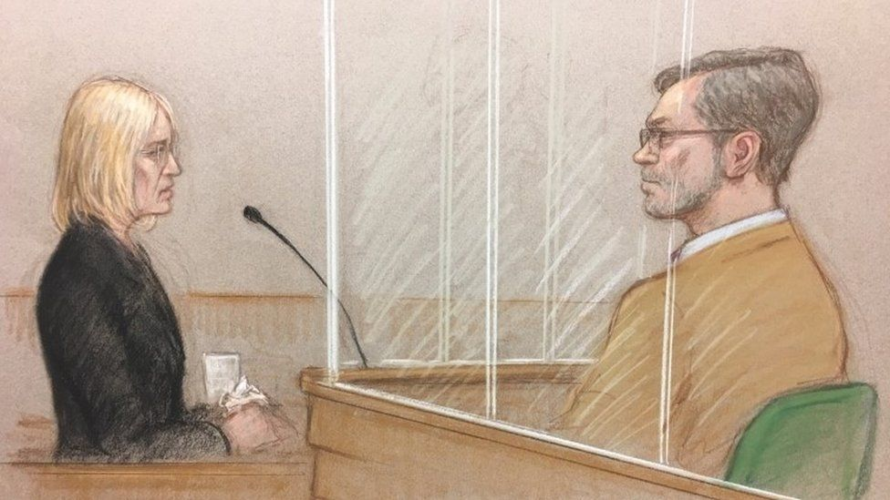 Court drawing of Sally Lane, as John Letts looks on.