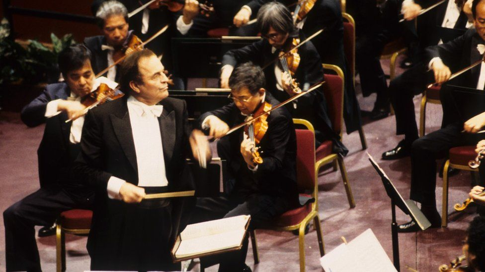 Picture shows Charles Dutoit conducting the NHK Orchestra.