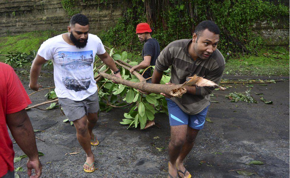 Men clear a fallen tree