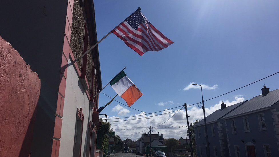 Doonbeg shops with US flag