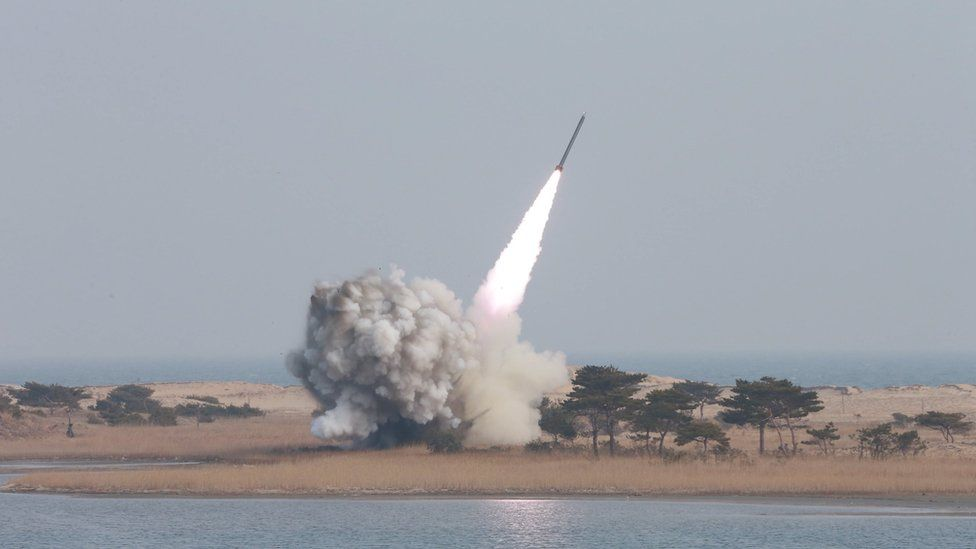 A multiple launch rocket system is test fired in this undated photo released by North Korea's KCNA agency. Photo: 4 March 2016