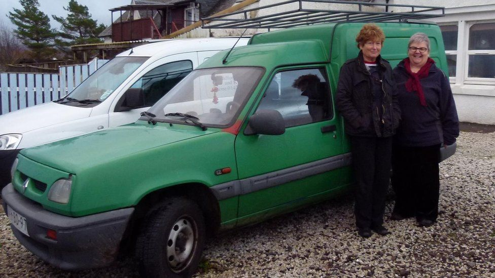 Kay Simpson and Anne MacAskill with their van