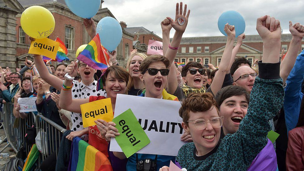Campaigners celebrate the Republic of Ireland's legalisation of same-sex marriage in 2015