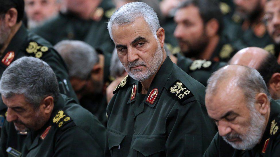 General Qasem Soleimani, centre, in Tehran 2016