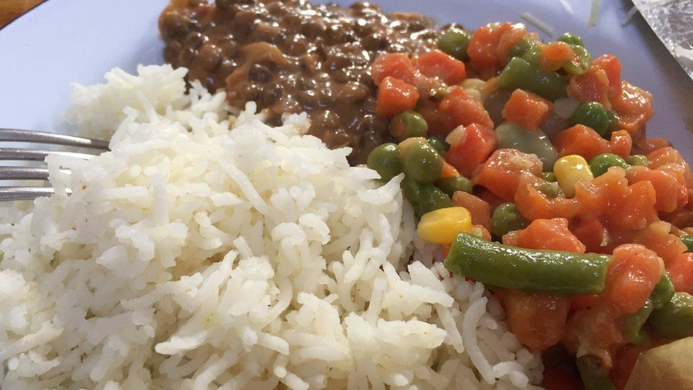 Lentils, vegetables and rice
