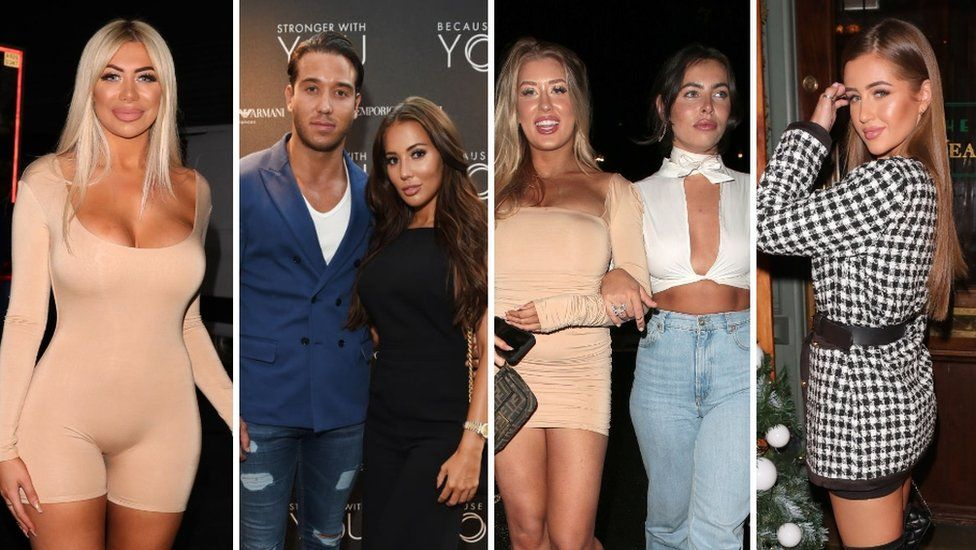 Collage of Chloe Ferry, James Lock and Yazmin Oukellou, Eve Gale, Francesca Allen and Georgia Steel