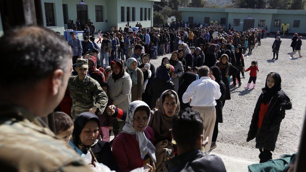 Migrants at centre near Athens. 25 Feb 2016