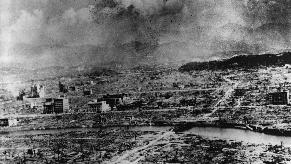 Black and white photograph from 1945 showing the ruins of Nagasaki after the atomic bomb was dropped.