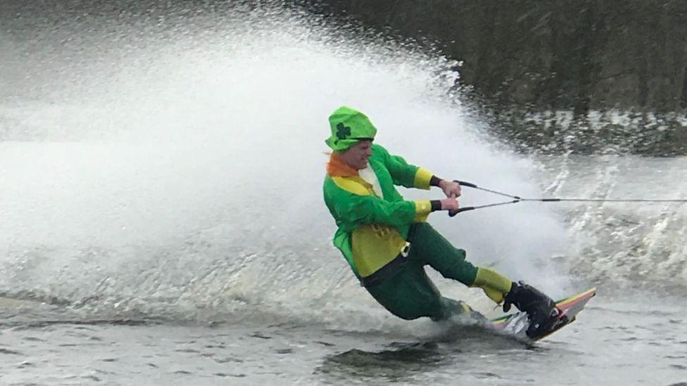 A jet skier got into the St Patrick's Day spirit on Lough Erne