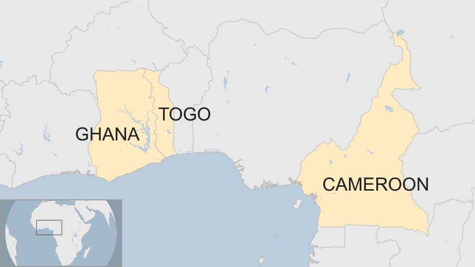 Map shows Ghana, Togo and Cameroon