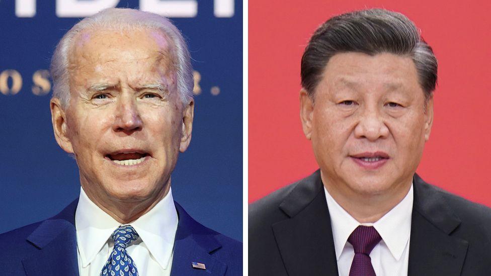A composite image of Joe Biden and Xi Jinping