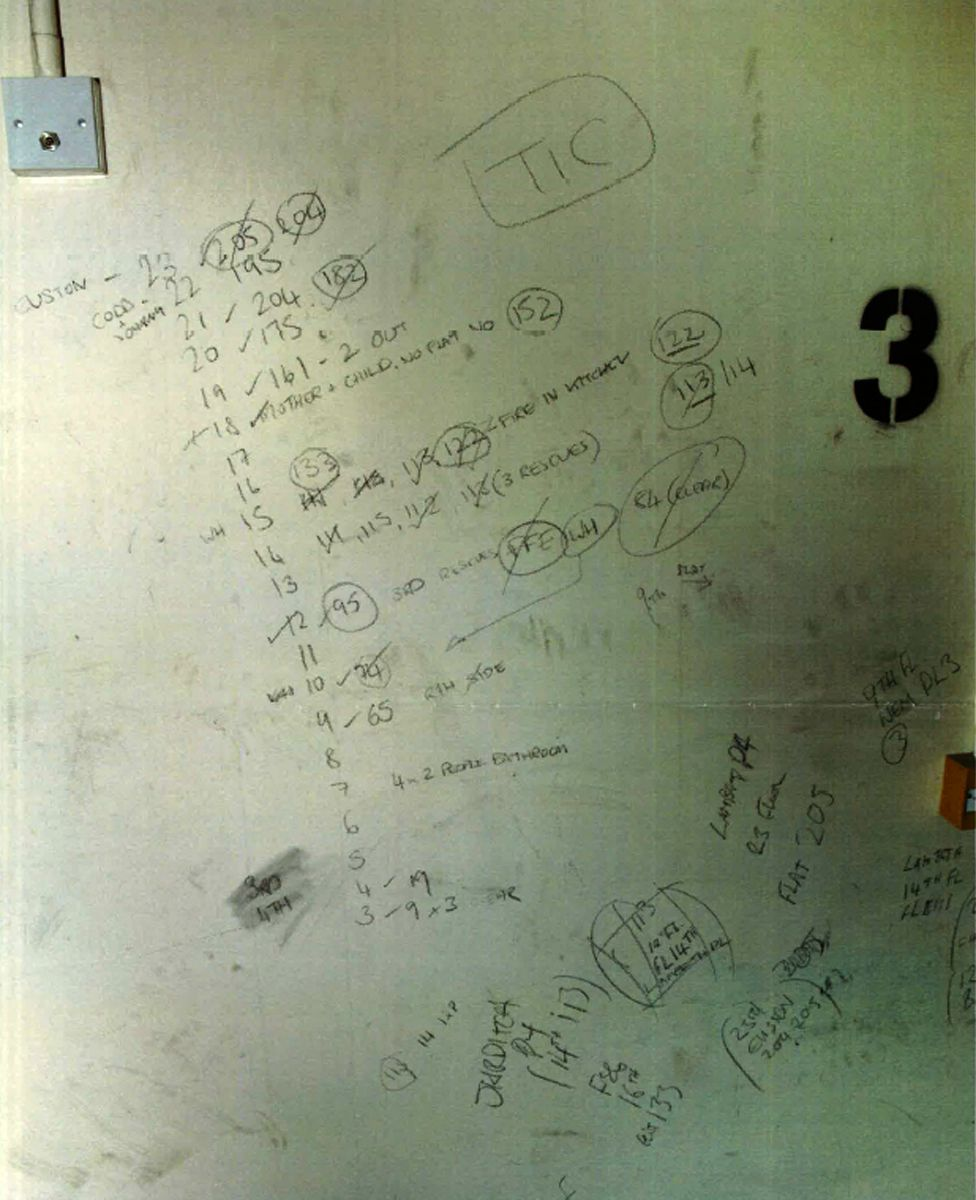 Notes made by firefighters on a wall show three rescues from flat 113
