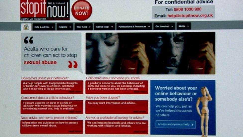 Computer screenshot of Stop it now! website