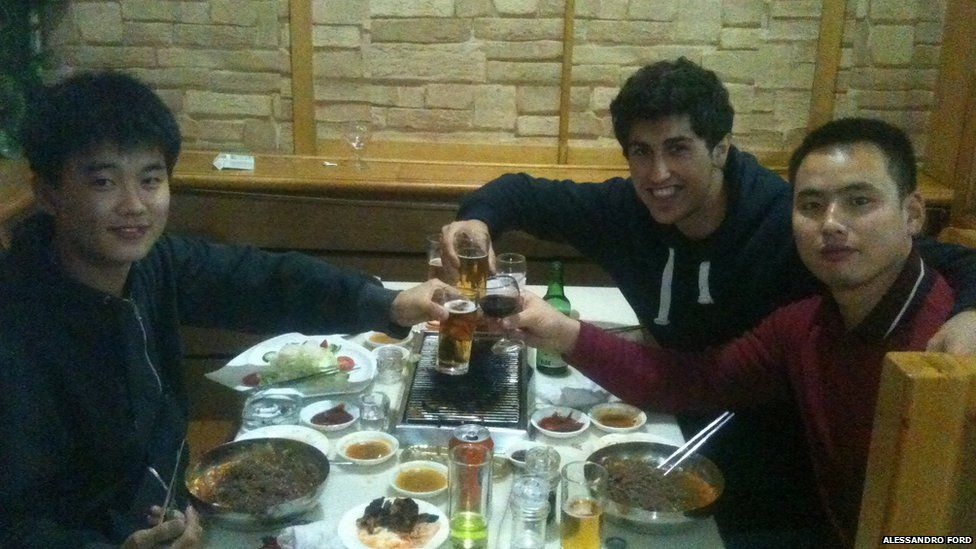 Dinner with his flat mates